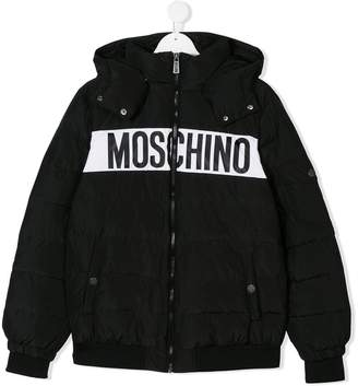 Moschino Kids TEEN logo printed padded jacket