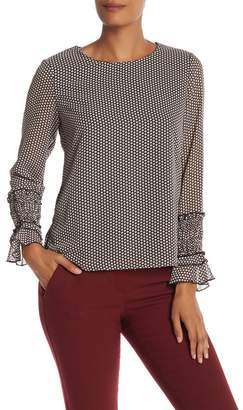 Nanette Lepore NANETTE Printed Jewel Neck Blouse