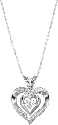 Sterling Silver Lab-Created White Sapphire Heart Pendant Necklace