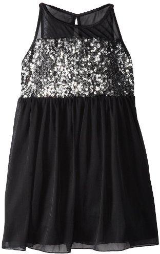 Ruby Rox Girls 7-16 Silver Sparkle Illusion Dress