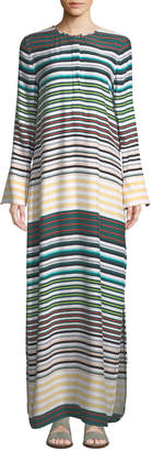 Equipment Niko Striped-Silk Maxi Dress