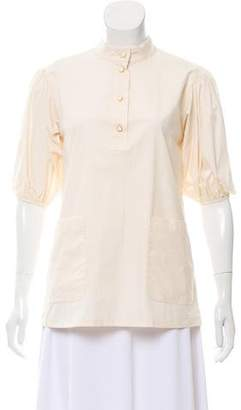 Salvatore Ferragamo Short Sleeve Button-Up Top w/ Tags
