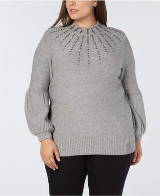 Alfani Plus Size Embellished Turtleneck Sweater, Created for Macy's