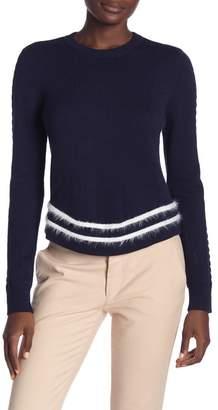ENGLISH FACTORY Long Sleeve Angora Trim Knit Sweater