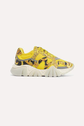 Versace Squalo Printed Leather And Mesh Sneakers - Yellow