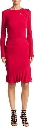 Roberto Cavalli Flounce Hem Fitted Sheath Dress