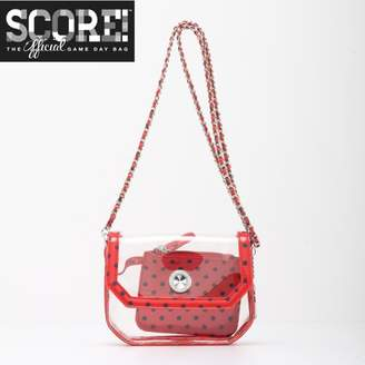 clear PU Cross Body Shoulder Bag for Game Day Chrissy Racing Red & Navy Blue by SCORE! The Official Game Day Bag Two Piece Set
