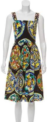 Dolce & Gabbana Sleeveless Printed Flare Dress
