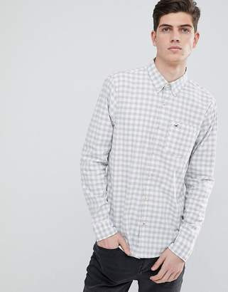 Hollister Poplin Shirt Icon Logo Slim Fit Gingham Check In White
