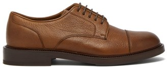 Brunello Cucinelli Grained Leather Derby Shoes - Mens - Brown