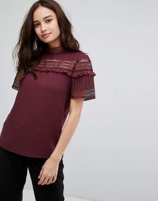 Vila Lace Frill Detail High Neck Top