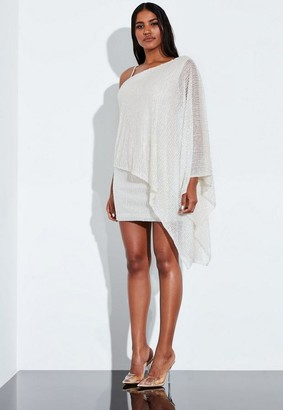Missguided White Drape Front Asymmetric Embellished Mini Dress