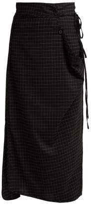 Lemaire Windowpane Check Midi Skirt - Womens - Black Multi