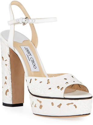 Jimmy Choo Peachy Cutout Platform Sandals