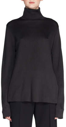 The Row Maliph Turtleneck Long-Sleeve Silk Top