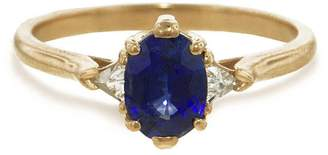 Bea Yuk Mui Anna Sheffield Blue Sapphire Oval Ring - Yellow Gold