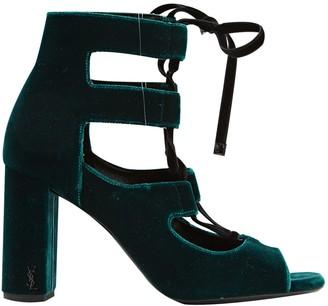 Saint Laurent Green Velvet Heels