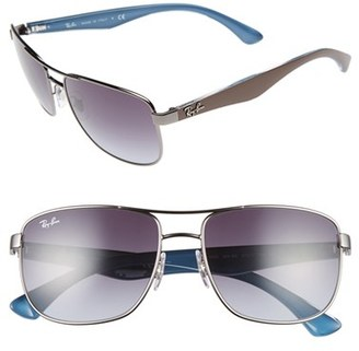 Men's Ray-Ban 57Mm Aviator Sunglasses - Black/ Grey Green Gradient $150 thestylecure.com