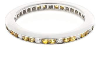 14K Yellow Gold with 0.48ct. Yellow Sapphire & 0.10ct. Diamond Eternity Wedding Band Ring Size 6