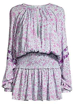 HEMANT AND NANDITA Women's Floral Mini Popover Dress
