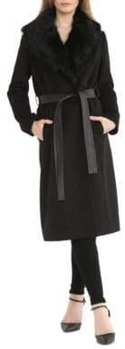 Badgley Mischka Natasha Coat with Fur