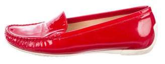 Stuart Weitzman Patent Leather Square-Toe Loafers
