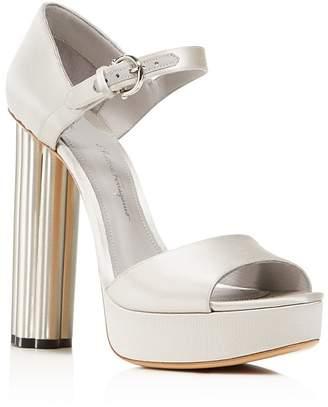 Salvatore Ferragamo Women's Satin Floral High Heel Platform Sandals