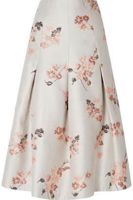 Co Pleated Floral-jacquard Midi Skirt - Ecru