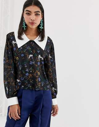 9b5000c1ad9fa Sister Jane blouse with oversized collar in jungle print