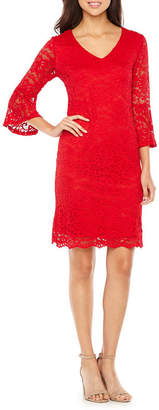 Ronni Nicole 3/4 Sleeve Lace Floral Sheath Dress