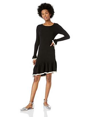 BB Dakota Junior's Never Tardy Asymmetric Ruffle Hem Sweater Dress