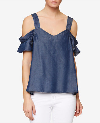 Sanctuary Annie Chambray Cold-Shoulder Top $89 thestylecure.com