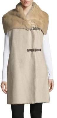 Calvin Klein Faux Fur Trimmed Suede Vest