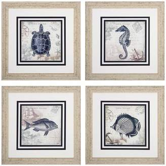 Beachcrest Home Seaside 4 Piece Framed Graphic Art Set