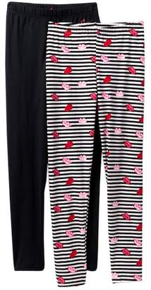 Betsey Johnson Striped Lips & Solid Knit Leggings - Pack of 2 (Big Girls)