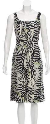 Max Mara Floral Ruffle-Accented Dress