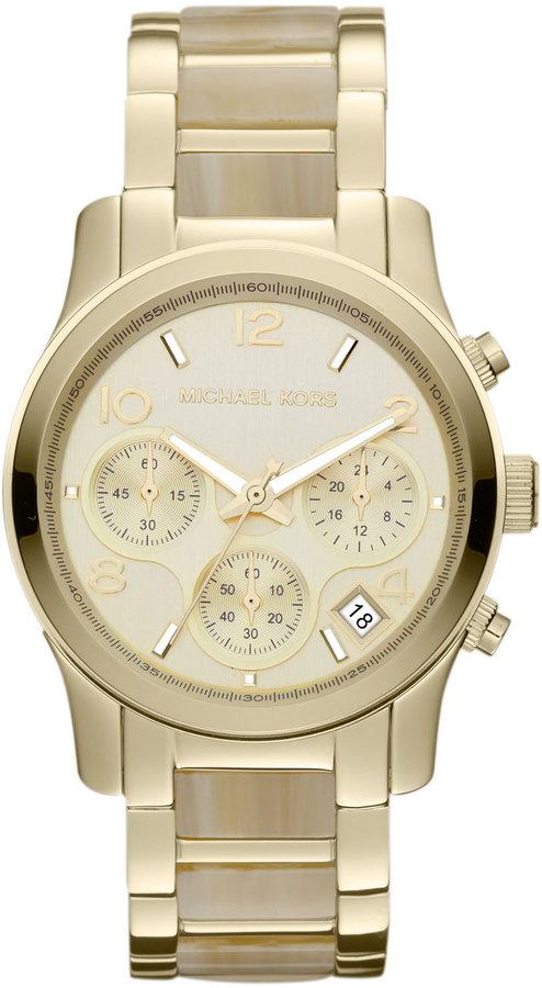 Michael Kors Ladies' Runway Horn Acetate & Gold-Tone Stainless Steel Watch