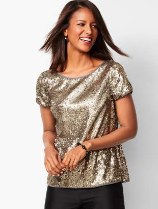 Talbots Sequined Satin-Trim Top
