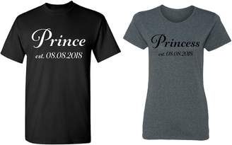 Dolce & Gabbana Zexpa Apparel Prince - Princess Personalized Couple Matching Shirt Set Newly Married Customized Valentines Day Men Black/Women Heather
