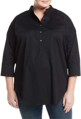 Go Silk 3/4-Sleeve Half-Button Oversized Stretch-Cotton Shirt, Plus Size