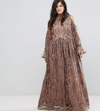 Truly You Cold Shoulder Premium Embroidered Maxi Dress