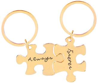 ENJOYINGTODAY 2PC Always and Forever Puzzle Piece Couple Keychain Gifts for Boyfriend, Long Distance Relationship Gift