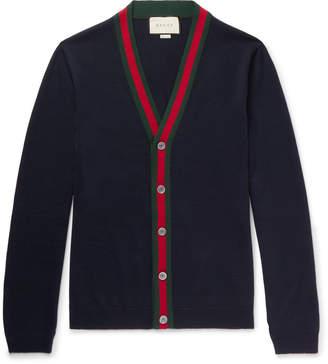 Gucci Webbing-Trimmed Wool Cardigan
