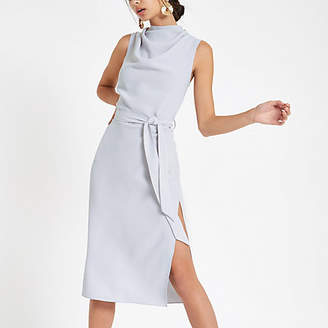 River Island Grey high neck sleeveless wrap midi dress