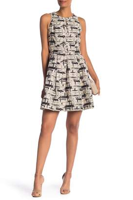 Vince Camuto Metallic Print Fit & Flare Dress