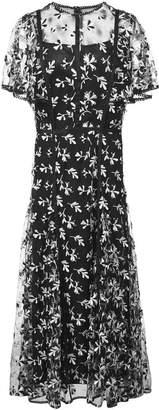 Lela Rose floral embroidered midi dress