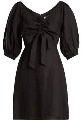 Zimmermann Painted Heart V Neck Gathered Linen Midi Dress - Womens - Black