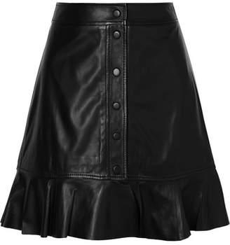Ganni Rhinehart Ruffled Leather Mini Skirt - Black