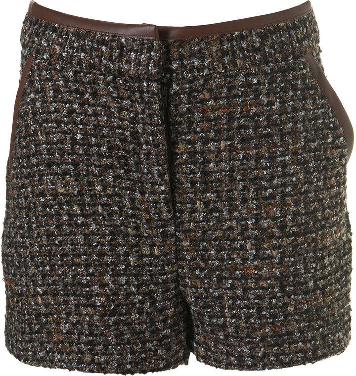 PU Trim Tweed Shorts