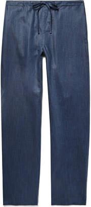 Zimmerli Slub Linen and Cotton-Blend Pyjama Trousers - Men - Blue